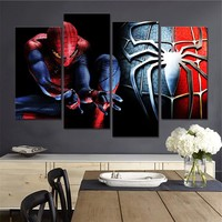 HD Printed Modern Canvas Painting Wall Art Living Room 4 Panel Spider Man Movie Modular Poster Framework Pictures Home Decor