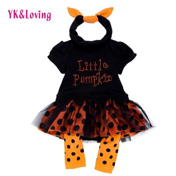 Halloween Baby Dress Set Girl Tutu Lace Black Romper Clothing Newborn Ruffle Girl Gowns Party little Pumpkin Infant Clothes