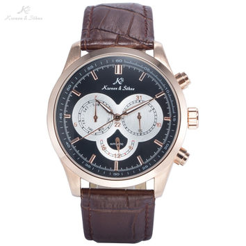 KS Luxury Brand Day Date 24 Hours Display Leather Strap Male Classic Wristwatch Men Self Wind Automatic Mechanical Watch / KS265