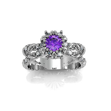 Art Deco Antique Style Halo  Amethyst Silver Wedding Engagement and Anniversary Ring Set
