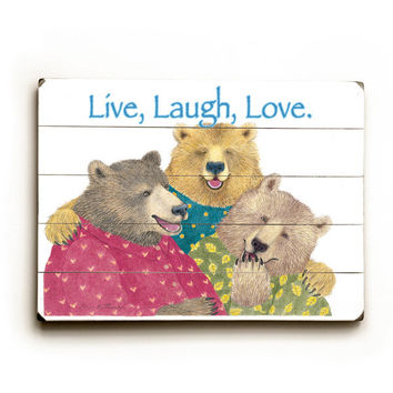 Live, Laugh, Love by Artist Paris Bottman Wood Sign