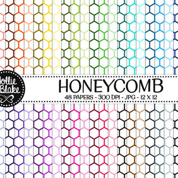 50% OFF! 48 HoneyComb Digital Paper • Rainbow Digital Paper • Commercial Use • Instant Download • #HONEYCOMB-103-1
