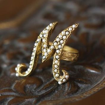 Pearly Initial Ring - Gold Monogram Ring