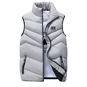 Mens High Collar Puffer Vest in Gray