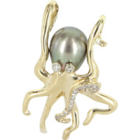 Vintage Octopus Pendant Diamond Tahitian Pearl 14 Karat Gold Estate Fine Jewelry