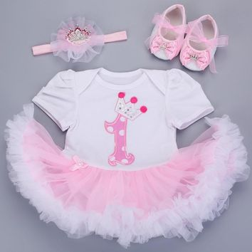 0-3 months baby girl dresses headband shoes set infantil Children's clothing set girls