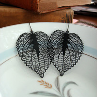 Black Leaf Earrings by sodalex on Etsy