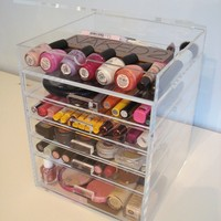 ACRYLIC MAKEUP COSMETICS ORGANIZER 5 DRAWER PLUS 1 LID BEAUTY CUBE STORAGE