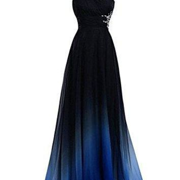HEAR Women's Halter Gradient Chiffon Long Dress Ombre Beads Evening Dresses Hear040 Blue2 8