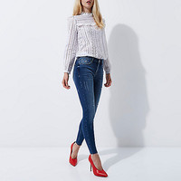White broderie high neck long sleeve top - Blouses - Tops - women