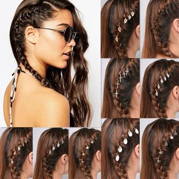CREYONHS 5pcs/Pack Fashion Alloy Hairpins For Women Gold and silver Round Star Shell Dreadlock Updo Hair Pin Cuff Hair Ring Accessories