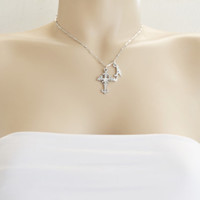 best friend necklace, silver cross, confirmation, bridesmaid, layered necklace, gothic cross, baptism gift, christmas, cross with diamond,