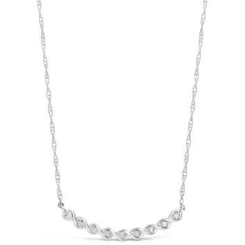 .10 cttw Diamond Braided Bar Sterling Silver Pendant Necklace
