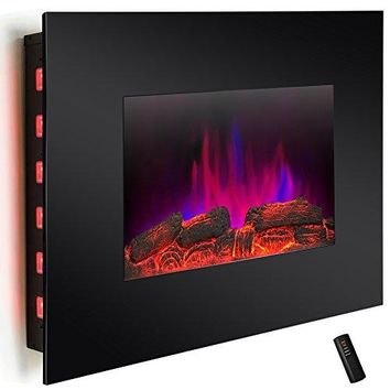 "36"" LED Wall Mount Electric Fireplace Modern Space Heater Flat Tempered Glass w/Remote Control"