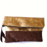 Clutch purse Gold and brown foldover , vegan leather