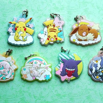 Pocket Monster Anime Pikachu Mew Gengar Eevee Poketto Monsuta Kawaii Rubber Keychain