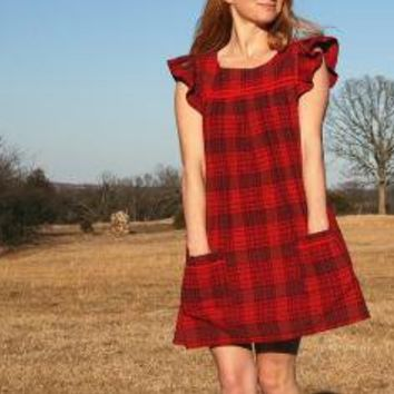 RUBY CHIC 70s HIPPIE Smock Dress PLAID by RubyChicOriginals