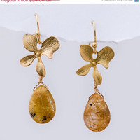CLEARANCE - Smooth Rutilated Quartz earrings  with Matte Finished 16K Gold Plating Orchid Flowers -