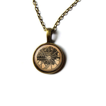 Alchemy jewelry Sun pendant Occult necklace Antique style NW259