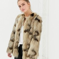 New Look faux fur jacket in brown pattern at asos.com
