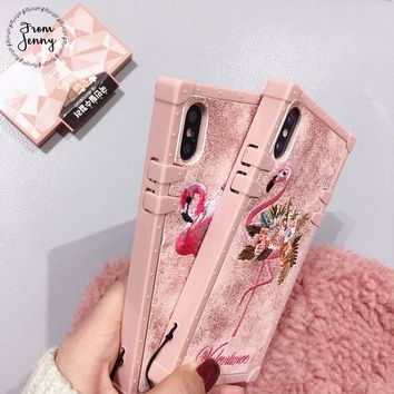 From Jenny Fabric Embroidery Flamingo Phone Case for iphone 8 8plus 7 7plus 6/6S Plus X Pink Soft Back Cover Case