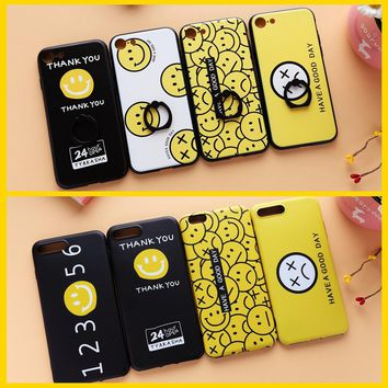 2 Styles TPU Matte Back Case For iphone 6s 6+ 6Plus 7 7+Plus Cute Emoji Face Silicone Protection Cover Ring Holder Black Yellow