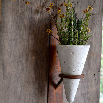 Concrete/Steel wall Sconce, planter wall sconce, candle holder sconce, rustic farmhouse sconce, concrete wall vase