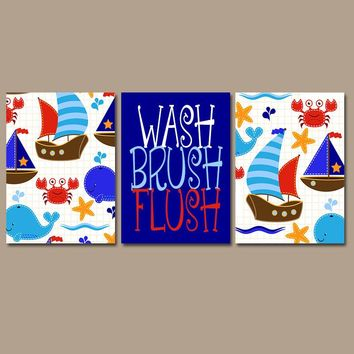 Ocean Kid Bathroom, Whale Crab Boat Wall Art, Nautical Decor, Wash Brush Flush, Beach Theme, Shared Child Bath, Brother Sister, Set of 3