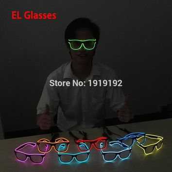 Flashing EL glasses El Wire Fashion Neon LED Light Up Shutter Shaped Glow Glasses Rave Costume Party DJ Bright SunGlasses