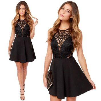 Women Summer dress Backless Prom Cocktail Lace Short Mini sexy Dress elegant dress vestidos x30516