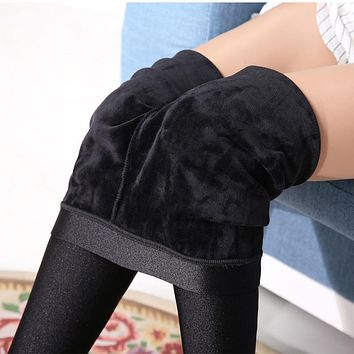 Women Winter Warm Leggings Velvet Leggings Shiny  Black Leggins Leggings Calzas Mujer Leggins High Waist Leggings