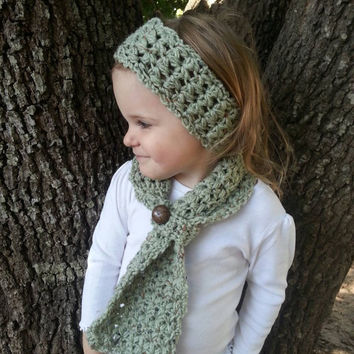 Custom made crochet scarf and ear warmer combo for toddler, child, and adult