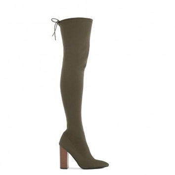 PDXHB RIO WOOD EFFECT HEEL LONG BOOTS IN KHAKI STRETCH