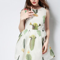 White Sleeveless Cactus Print A-Line Mini Skater Dress