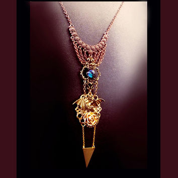 Victorian necklace, dragon necklace, medieval necklace, steampunk necklace, magic necklace, long gothic necklace, OOAK, dragon jewelry