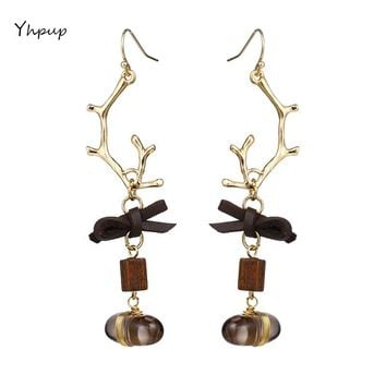 Yhpup Fashion Exquisite Antlers Natural Stone Drop Charm Romantic Earrings 2018 New For Women Christmas Present Gift Jewelry