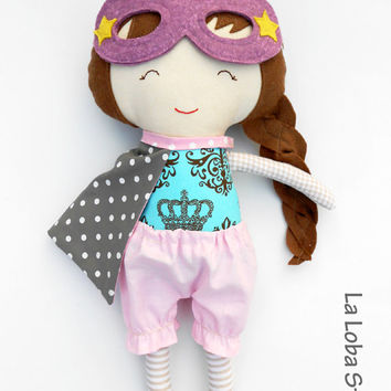 Doll for superhero girls, gift for toddlers and children, pink and grey ragdoll to dress-up games, large fabric doll a classic toy for kids