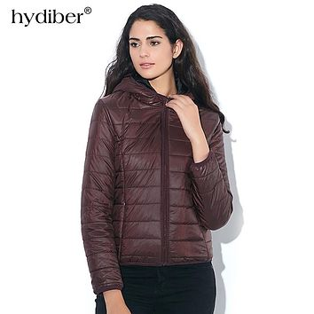 HYDIBER 2018 New Brand Fashion Winter Jacket Women Cotton Hooded Women's Long Sleeve Basic Coat Casual Slim Solid Parkas