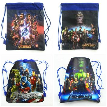 12pcs Avenger Super Hero non-woven fabrics bags drawstring bags children favorite backpack,schoolbag,shopping bag