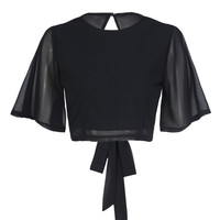 Black Open Back Tie Detail Flare Sleeve Cropped Top