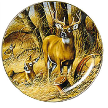 Wild Wings Rustic Retreat Whitetail Deer Decorative Plate