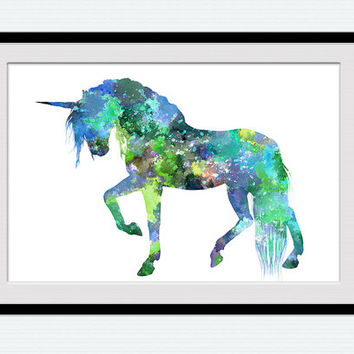 Unicorn watercolor art print Unicorn poster Home decoration Kid room decor Nursery room art poster Birthday gift Unicorn wall decor W479