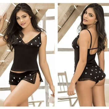 Mapale 7209 Two Piece Top and Short Sleepwear Set Color Black