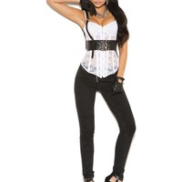 Elegant Moments EM-L9767 Leather underbust harness with buckle closure