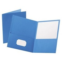 Oxford® Twin Pocket Folder, Embossed Leather Grain Paper - Light Blue