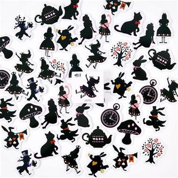 45pcs/Pack Cartoon Alice in Wonderland Sticker Children Toys Anime Stickers For Kids DIY On Book Laptop Mobile Phone Bicycle