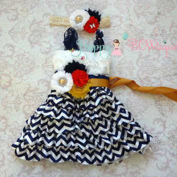 Nautical Navy Chevron Lace Dress, Flower girls dress,Navy Dress, baby dress Birthday outfit, girls dress,wedding, baby girls dress, nautical