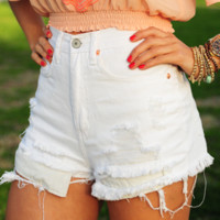 Simply Adore You Shorts: White | Hope's