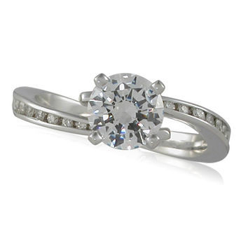Vivadore Bypass Channel Set Diamond Engagement Ring