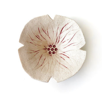 Poppy flower Functional Sculpture Cream Stoneware Ceramic Pottery Decorative Home Decor Gift For Her Hostess Gift Wedding Gift Idea Under 40